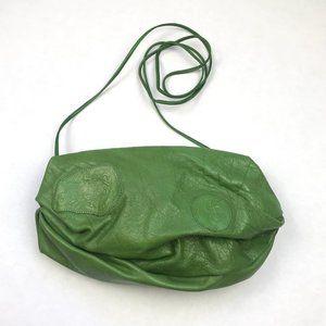Carlos Falchi Green Leather Pouch Crossbody Bag